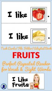 Adapted Book- FRUITS from NoodleNook for Task Cards or File Folder in LIFE Skills