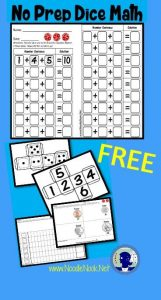 FREE! Dice Math with printable dice, worksheets, and a money tie-in!
