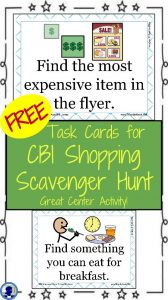 FREE Task Cards for Grocery Scavenger Hunt from NoodleNook- Great for LIFE Skills or Money Center Activity