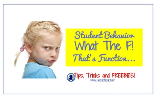 Function of Behavior- Learn more about changing bad behavior in the classroom from NoodleNook.Net- Totally Helpful Stuff