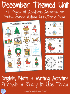 December Monthly Unit for Special Ed, Autism Units, or Early Elem.