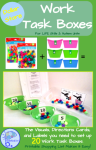 Dollar Store Work Task Boxes- 20 Activities with Visuals & Directions!