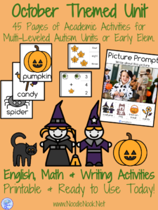 October Themed Unit for students with Disabilities or Early Elementary: Includes ELA, Math & Writing Activities!