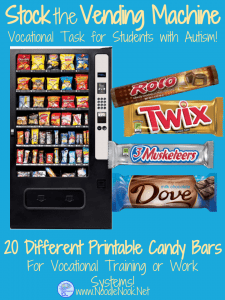 This Candy Bar Stocking Activity is the perfect addition to your work system or vocational prep class… and it allows your students to work on meaningful skills they can actually apply to a real job.
