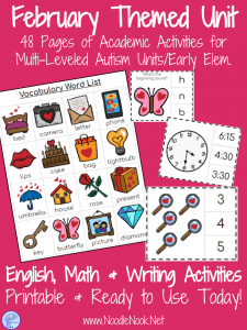 February Themed Adapted Unit for Autism or Early Elem. (Math, ELA & Writing)