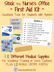 This First Aid Kit Stocking Activity is the perfect addition to your work system or vocational prep class… and it allows your students to work on meaningful skills they can actually apply to a real job.