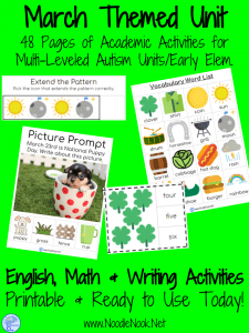 March Themed Adapted Unit for Autism or Early Elem. (Math, ELA & Writing)