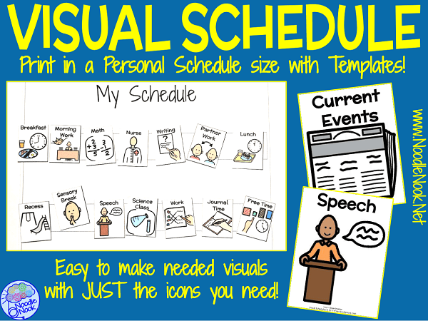 personalized visual schedule for sped and autism units noodle nook